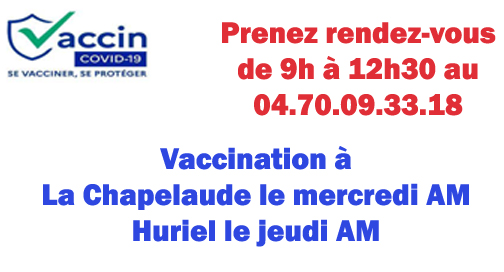 Vaccination sur le Pays d'Huriel